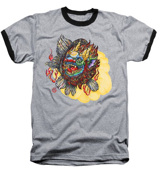 Kirin Head Ranchu Baseball T-Shirt by Shih Chang Yang