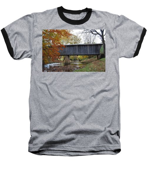 Baseball T-Shirt featuring the photograph Kissing Bridge At Fall by Eric Liller