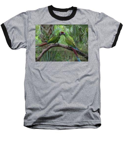 Kissing Macaws Baseball T-Shirt