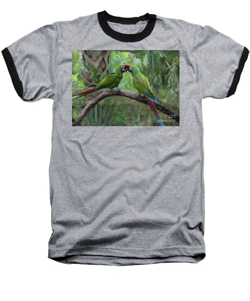 Kissing Macaws Baseball T-Shirt
