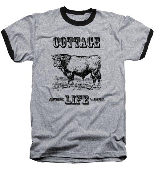 Kitchen Decor Cottage Life Cow Vintage Artwork Baseball T-Shirt by Jacob Kuch