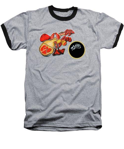 Kitchen Illustration Of Menu Of Meat Products  Baseball T-Shirt
