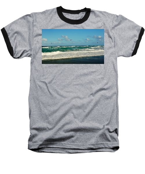 Kite Surfing Baseball T-Shirt by John Wartman