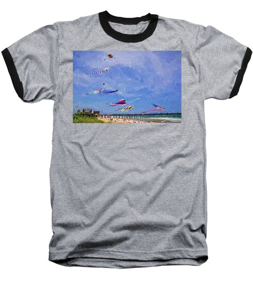 Kites At The Flagler Beach Pier Baseball T-Shirt