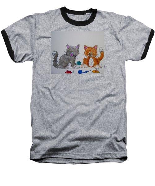 Baseball T-Shirt featuring the drawing Kitt And Katt by Megan Walsh
