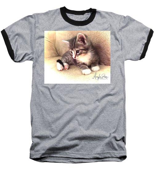 Kitten Deep In Thought Baseball T-Shirt