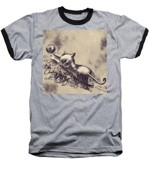 Kitten Playing With Ball Baseball T-Shirt