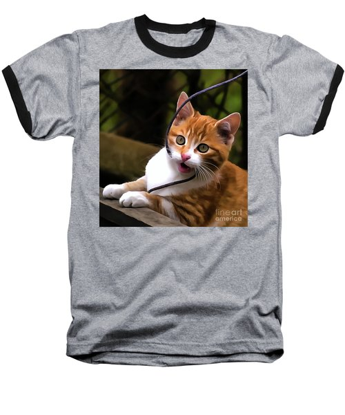 Kitten Portrait Player Baseball T-Shirt
