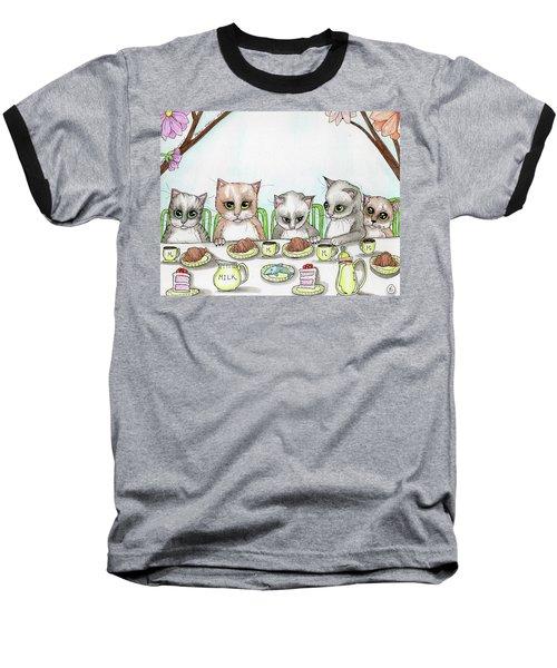 Kitten Tea Party Baseball T-Shirt