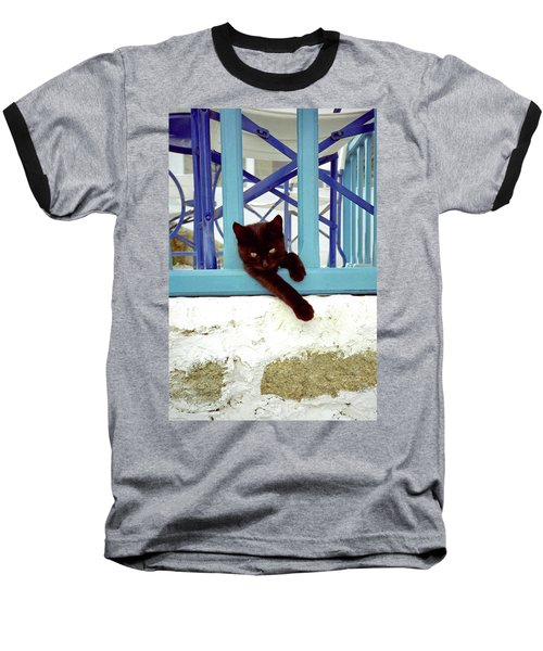 Baseball T-Shirt featuring the photograph Kitten With Blue Rail by Frank DiMarco