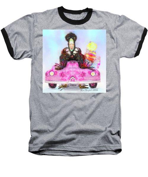 Kitty Car Crow Baseball T-Shirt by Kari Nanstad
