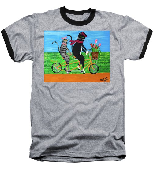 Kitty Cat Outing Baseball T-Shirt