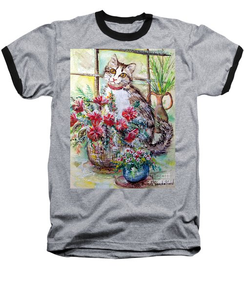 Kitty In The Window Baseball T-Shirt by Linda Shackelford