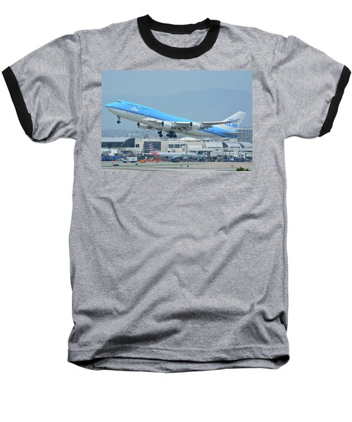 Baseball T-Shirt featuring the photograph Klm Boeing 747-406m Ph-bfh Los Angeles International Airport May 3 2016 by Brian Lockett