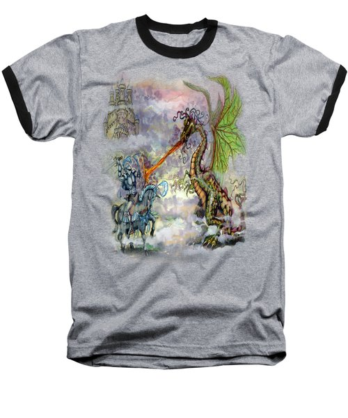 Baseball T-Shirt featuring the painting Knights N Dragons by Kevin Middleton