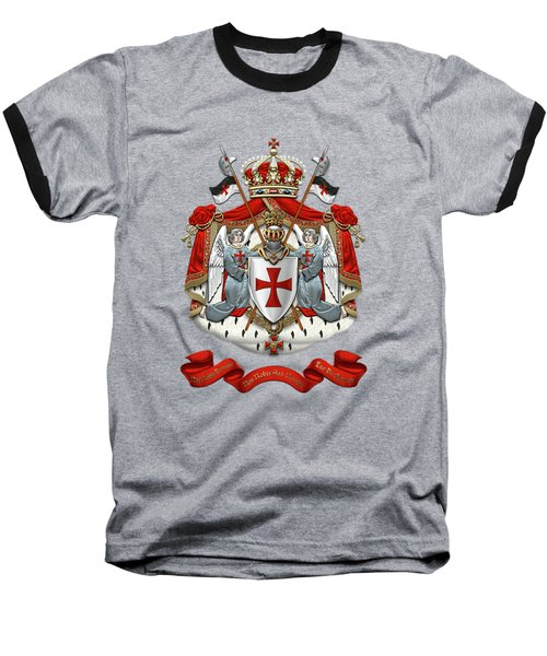 Knights Templar - Coat Of Arms Over Red Velvet Baseball T-Shirt by Serge Averbukh