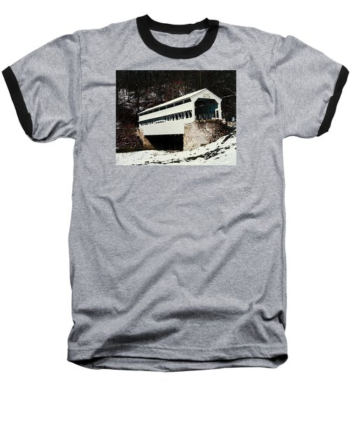 Knox Covered Bridge Historical Place Baseball T-Shirt by Sally Weigand