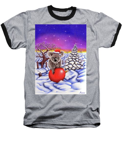 Koala On Christmas Ball Baseball T-Shirt by Remrov