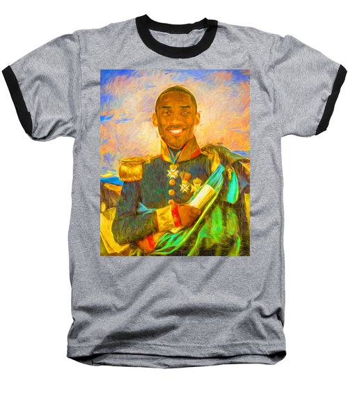 Kobe Bryant Floor General Digital Painting La Lakers Baseball T-Shirt by David Haskett