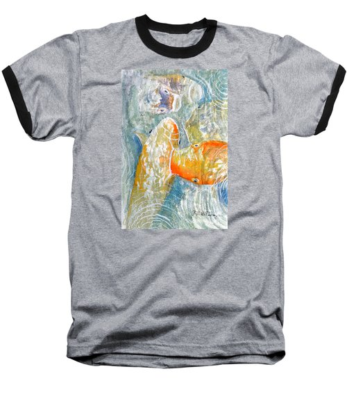 Baseball T-Shirt featuring the painting Koi Carp Feeding Frenzy by Bill Holkham