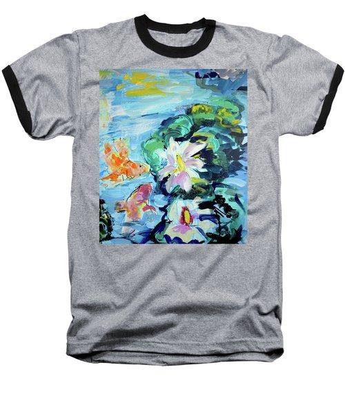 Koi Fish And Water Lilies Baseball T-Shirt