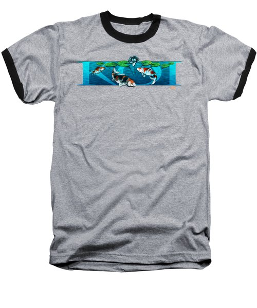 Koi With Type Baseball T-Shirt by Rob Corsetti
