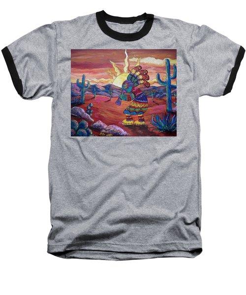 Kokopelli Sunset Baseball T-Shirt by Megan Walsh