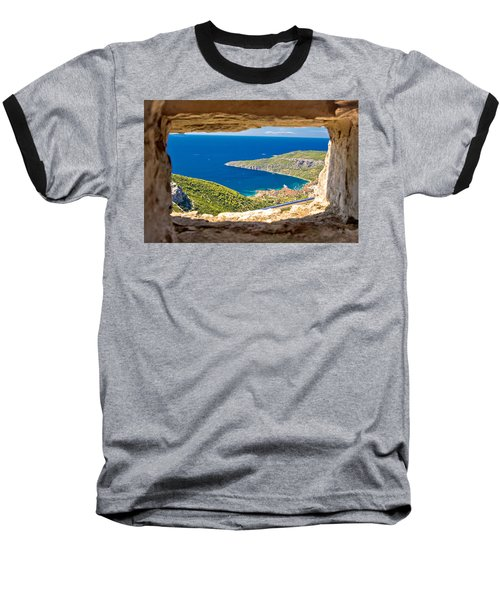 Komiza Bay Aerial View Through Stone Window Baseball T-Shirt