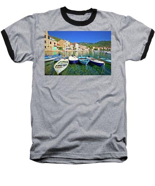 Komiza On Vis Island Turquoise Waterfront Baseball T-Shirt by Brch Photography