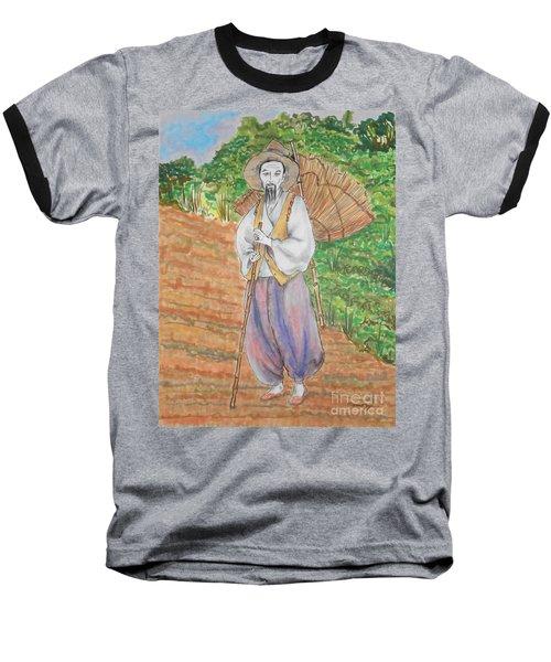 Korean Farmer -- The Original -- Old Asian Man Outdoors Baseball T-Shirt