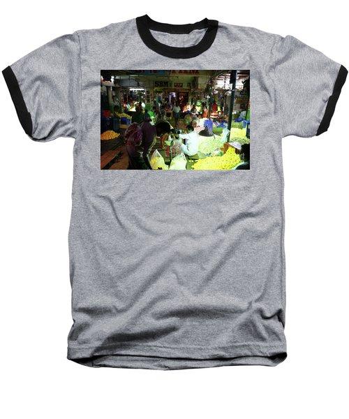 Baseball T-Shirt featuring the photograph Koyambedu Flower Market Stalls by Mike Reid