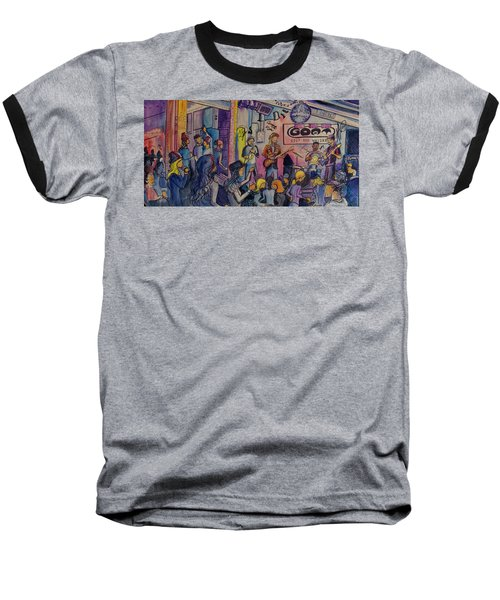 Baseball T-Shirt featuring the painting Kris Lager Band At The Goat by David Sockrider