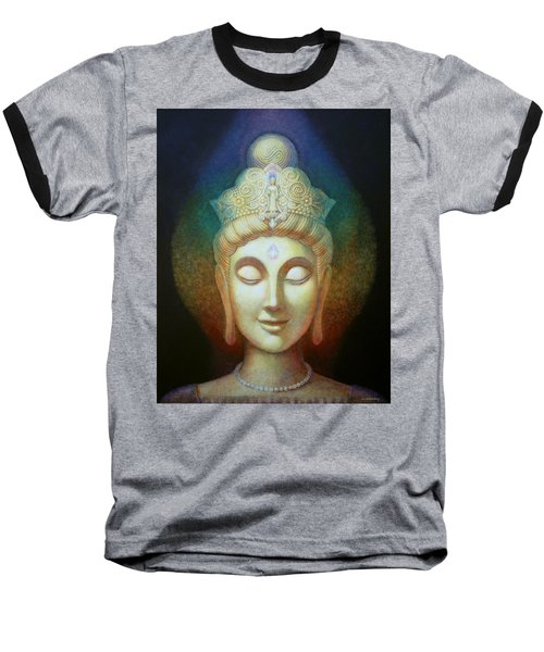 Kuan Yin's Light Baseball T-Shirt by Sue Halstenberg