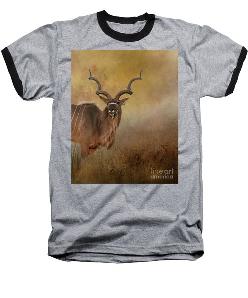 Kudu On Alert Baseball T-Shirt by Myrna Bradshaw