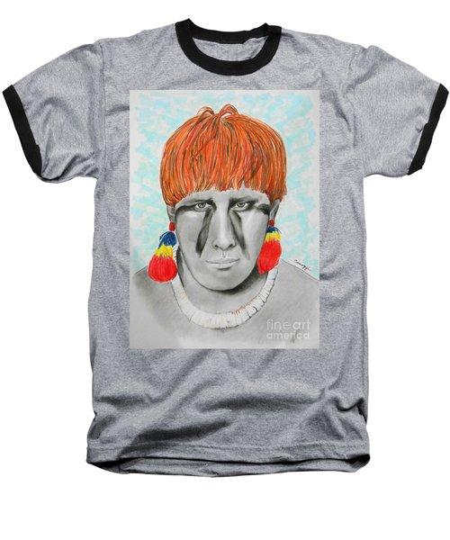 Kuikuro From Brazil -- Portrait Of South American Tribal Man Baseball T-Shirt
