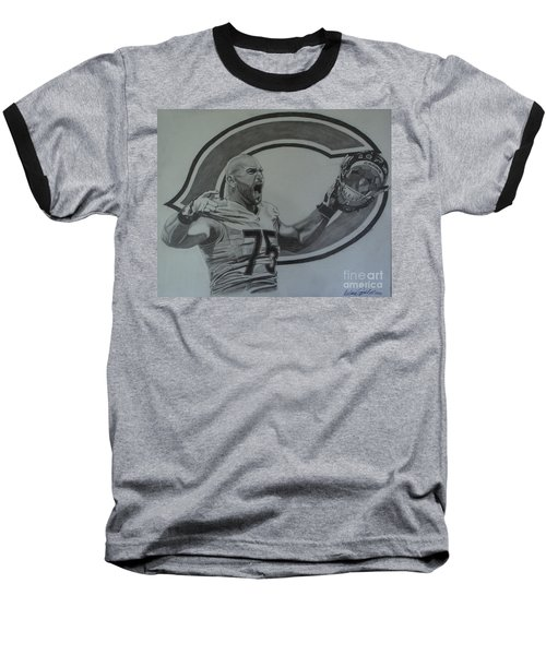 Baseball T-Shirt featuring the drawing Kyle Long Of The Chicago Bears by Melissa Goodrich