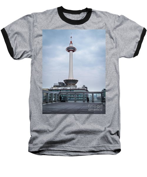 Baseball T-Shirt featuring the photograph  Kyoto Tower, Japan by Perry Rodriguez