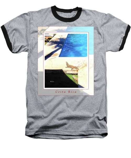la Casita Playa Hermosa Puntarenas Costa Rica - Iguanas Poolside Greeting Card Poster Baseball T-Shirt by Felipe Adan Lerma