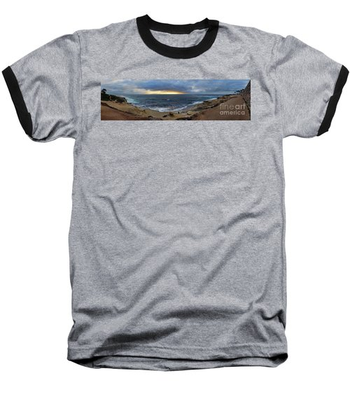 La Jolla Shores Beach Panorama Baseball T-Shirt