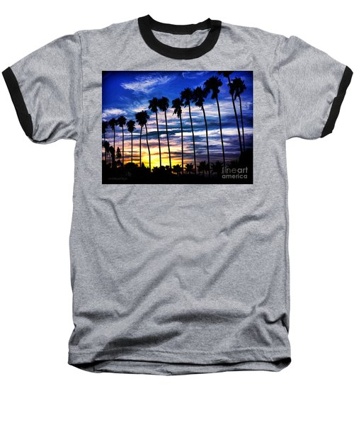 La Jolla Silhouette - Digital Painting Baseball T-Shirt by Sharon Soberon