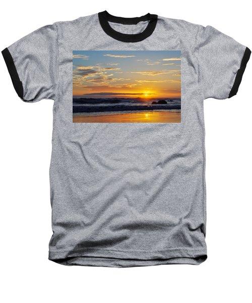 Baseball T-Shirt featuring the photograph La Piedra Sunset Malibu by Kyle Hanson