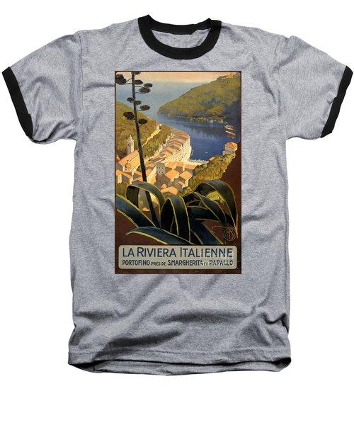 La Riviera Italienne Vintage Travel Poster Restored Baseball T-Shirt