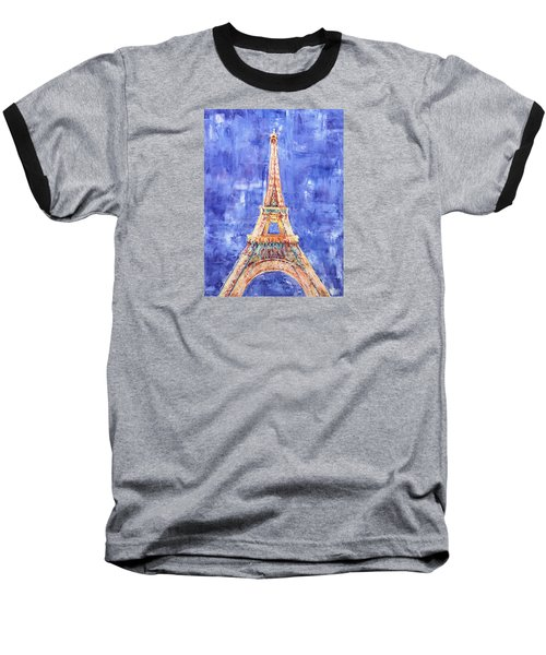 Baseball T-Shirt featuring the painting La Tour Eiffel by Elizabeth Lock