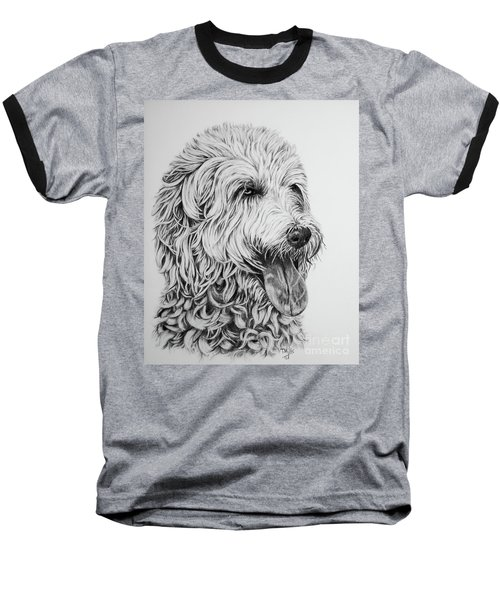 Baseball T-Shirt featuring the drawing Labradoodle by Terri Mills