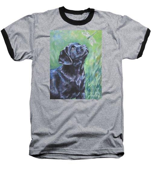 Labrador Retriever Pup And Dragonfly Baseball T-Shirt by Lee Ann Shepard