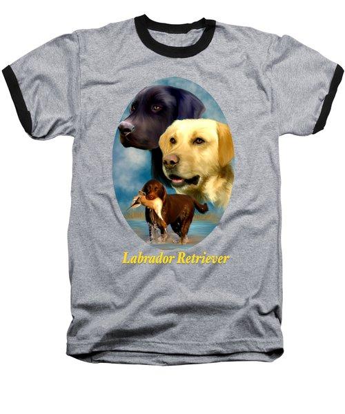 Labrador Retriever With Name Logo Baseball T-Shirt
