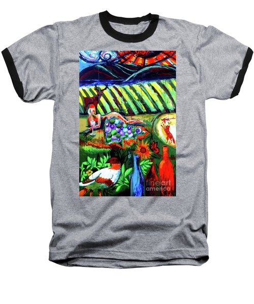 Baseball T-Shirt featuring the painting Lady And The Grapes by Genevieve Esson