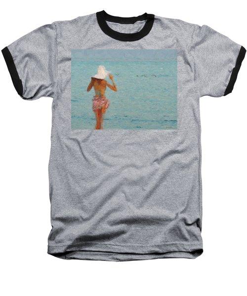 Lady At The Beach Baseball T-Shirt