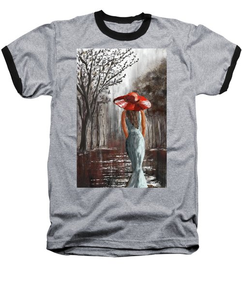 Lady In A Red Hat Baseball T-Shirt