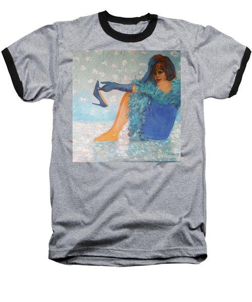 Lady In Blue Baseball T-Shirt